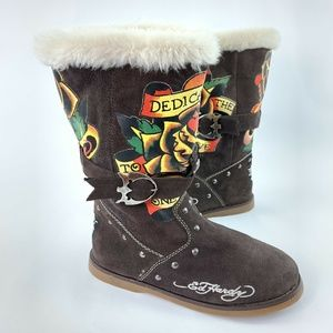 Don Ed Hardy Design Boots Buckled Suede Leather